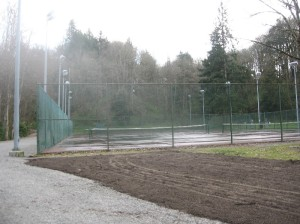 Wet tennis courts