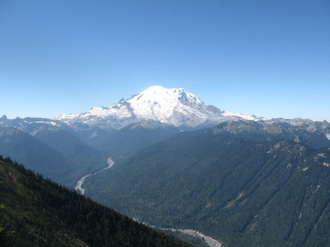 Mount Rainier from the top of the Crystal Mountain gondola.  That's the White River down below.